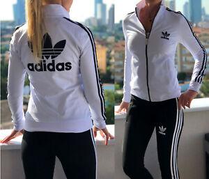 Detalles acerca de Adidas Chándal para mujer Vintage Clásico Retro Estilo  Blanco con el logotipo de Superdry en negro Pantalón- mostrar título ...