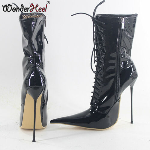16cm Extreme Thin Metal Heel Lacing Extra Long Pointed Toe Women Mid Calf Boots