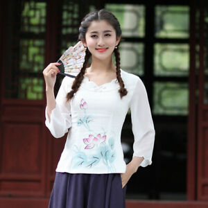 Chinese-Traditional-Tops-Women-Linen-Shirt-Summer-Blouse-Size-M-2XL