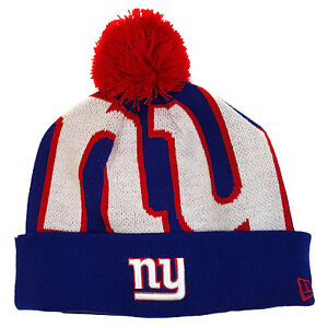 70cfb3d2d16 NFL NEW YORK GIANTS New Era Woven Biggie Pom Knit Beanie Cuff Skull ...