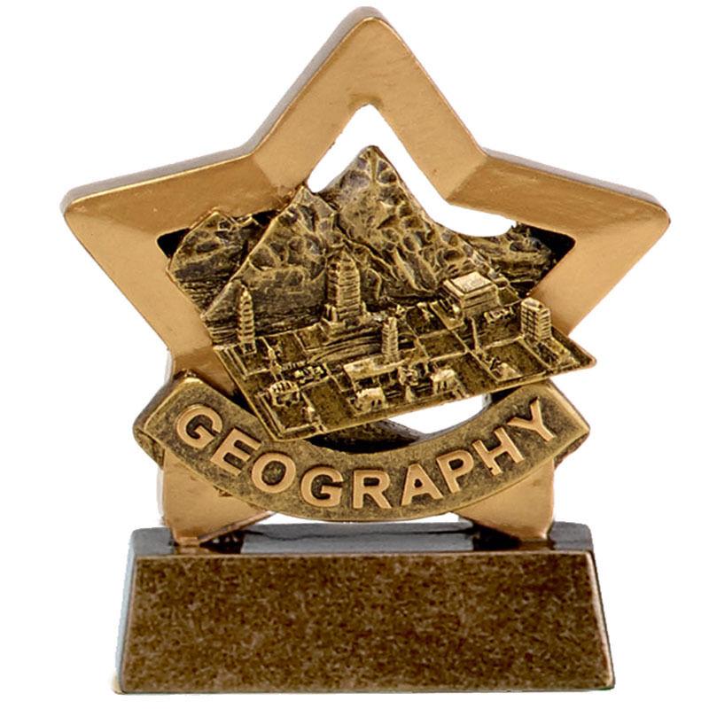 Confezione di 10 GEOGRAFIA resina MINI STAR Trophy INCISIONE GRATUITA 8cm SCUOLA A1669 GMS