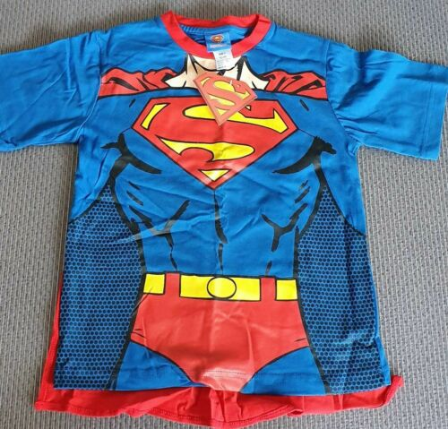 Kids Baby Boy Girl Superman Batman Supergirl Costume T shirt with cape Size 6,7