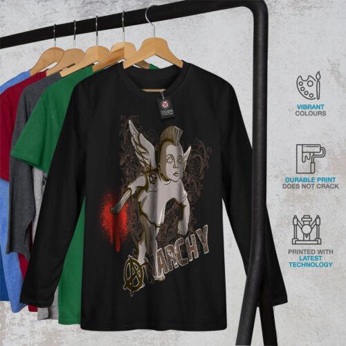 violento Graphic Design Wellcoda Anarchy Funk Angel Da Uomo Manica Lunga T-shirt