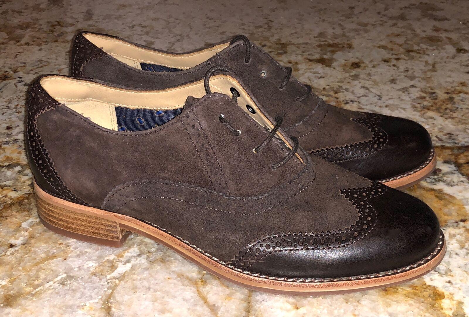 SEBAGO Claremont Brogue Wingtip Brown Suede Oxford shoes NEW Womens Sz 7 8