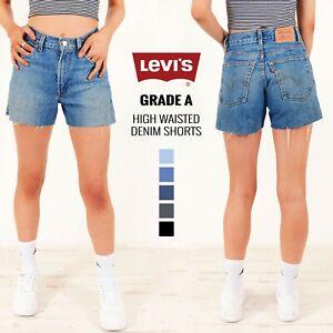 Grade-un-LEVIS-vintage-pour-femme-taille-haute-short-en-jean-taille-6-8-10-12-14-16-18