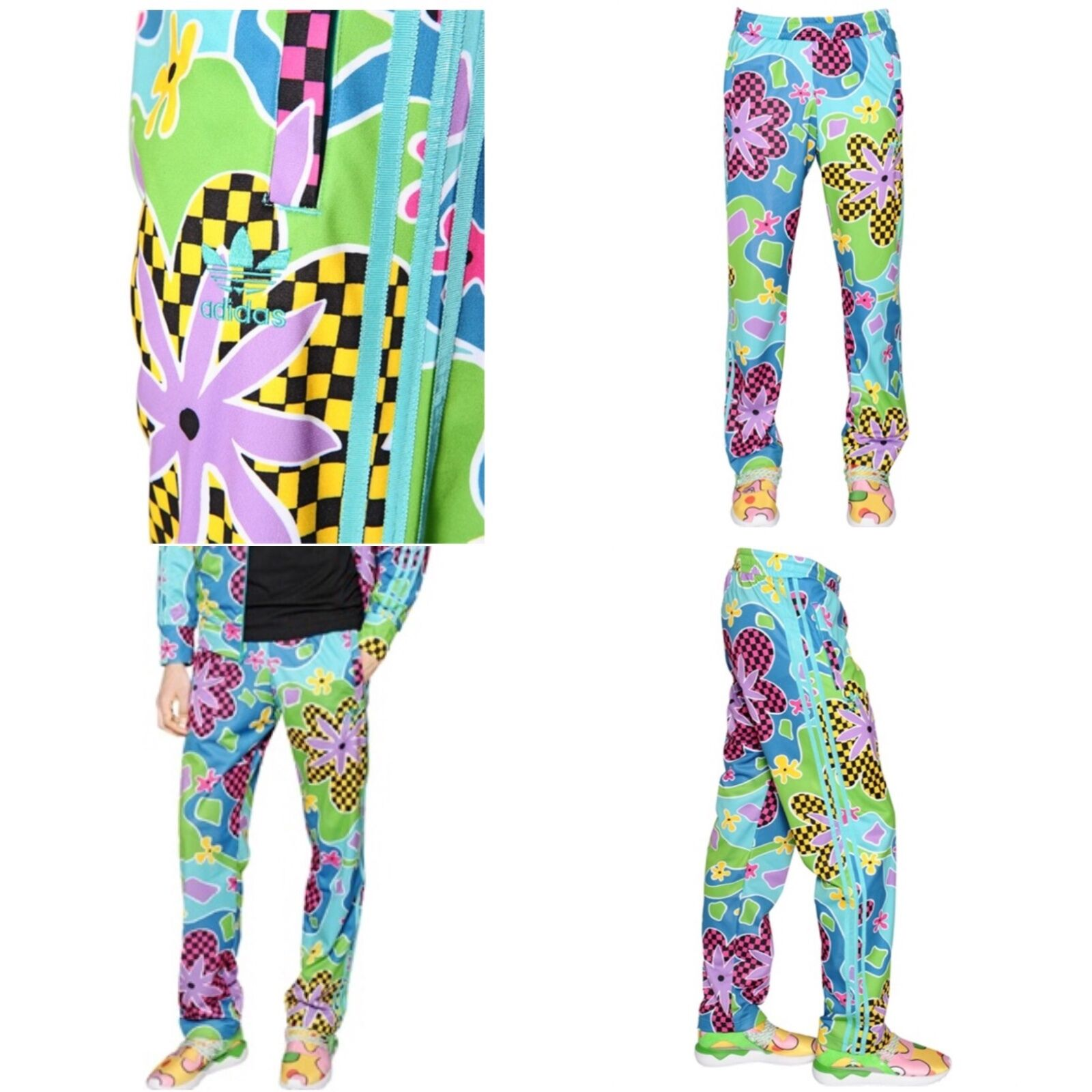 JEREMY SCOTT x ADIDAS Psychedelic Floral Shellsuit colorful Pants RARE  NEW