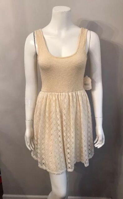 384f6e085d5 NWT Altar d State Beige Ivory Ribbed Knit Crochet Skirt Dress Size M ...