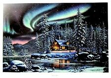 "Aurora Bliss By Kim Norlien Cabin Lake Northern Lights Art Print  18"" x 12"""