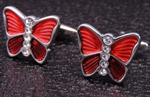 RED DIAMANTE BUTTERFLY CUFFLINKS WEDDING DRESS SHIRT INSECT FLY UK SELLER