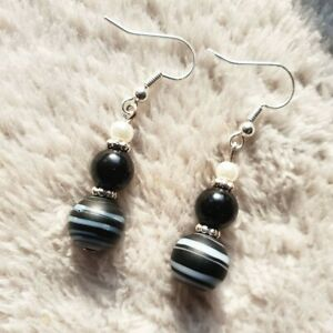 a83289ca3fd Details about Black and White Zebra Swirl Glass Pearl Beaded Earrings with  Silver Plated Hooks
