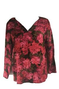 J-Jill-S-Petite-Blouse-V-Neck-Long-Sleeves-Casual-Work-Floral-Shirt
