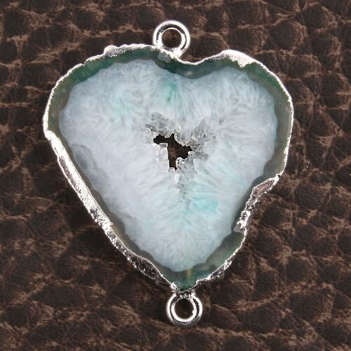 Unique Natural Geode Slice Druzy Silver Plated DIY Bracelets Pendants Connectors