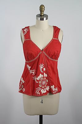 Anthropoologie Edme Esyllte Coral Orange Embroidered Floral Sleeveless Blouse 2