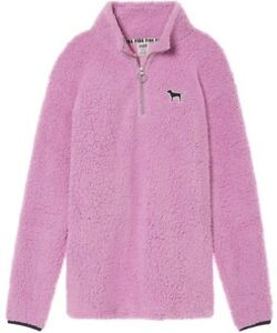 8a19f618b538a Details about Victoria's Secret PINK Sherpa Boyfriend Jacket Pullover  Orchid Purple SMALL