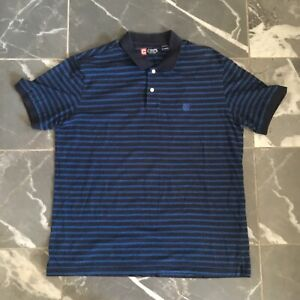 Chaps-Sports-Men-039-s-Short-Sleeve-Polo-Shirt-size-XL-Blue-Stripped
