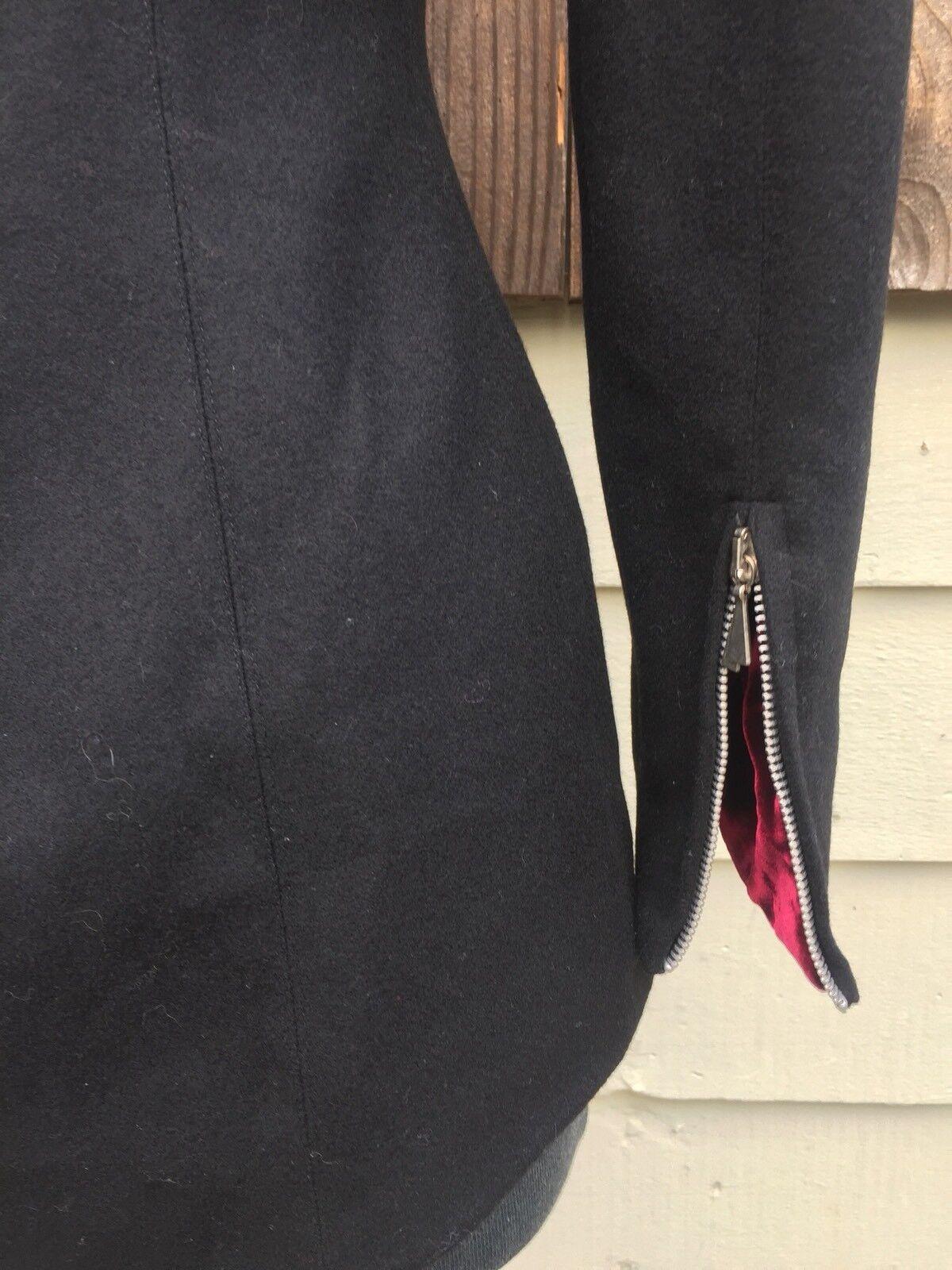 *STUNNING*a Claude Montana Black Wool Burgundy Velvet Diamonds Jacket 4 Small