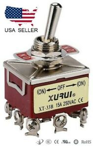HEAVY-DUTY-3PDT-ON-OFF-ON-MOMENTARY-TOGGLE-SWITCH-SCREW-TERMINALS-33BF