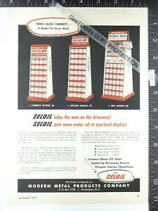 1957 vintage ADVERTISEMENT Seloil M 56 72 60 oil can display gas service station