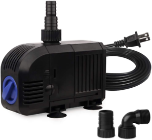 Ultra Quiet Adjustable Outdoor Fountain Pump With 5ft Power Cord For Aquarium
