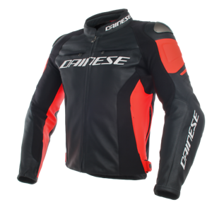 DAINESE-RACING-3-BLACK-FLUO-RED-LEATHER-MOTORCYCLE-JACKET-EU-52-54-56