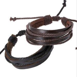 Unisex-Women-039-s-Men-039-s-Genuine-Leather-Bracelets-Multi-Wrap-Hemp-Surfer-Braid-F139