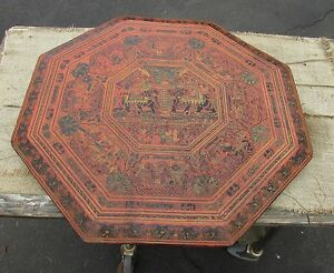 Image Is Loading Antique Asian Oriental Painting Table Top Thai Lacquer