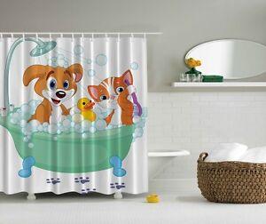 Details About Playful Dog Cat In Bubbled Bath Tub Digital Print Shower Curtain Kids
