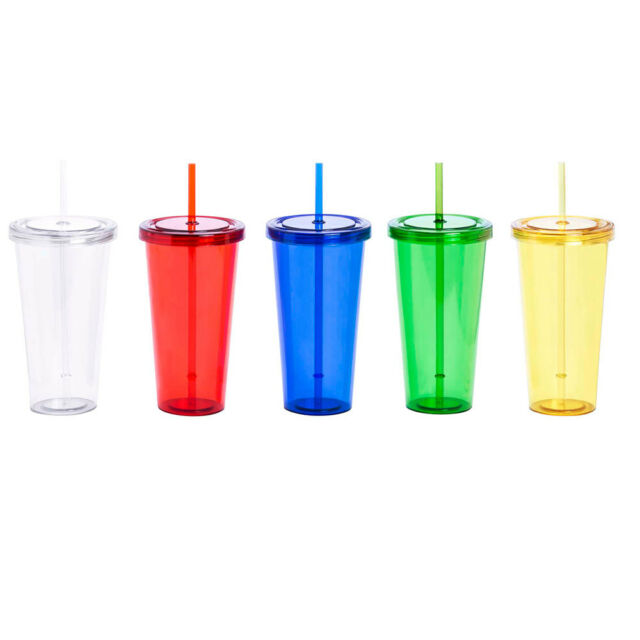 Plastic Drink Juice Smoothie iced Coffee Tumbler Lid /& Straw BBQ Parties Travel