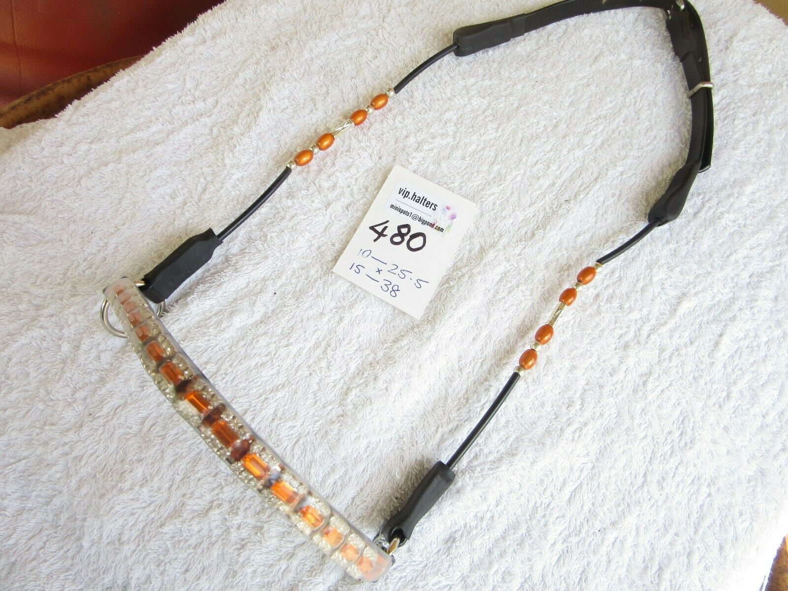 vip 480  Arab Arabian cable beaded Show Halter bridle  - SMALL size