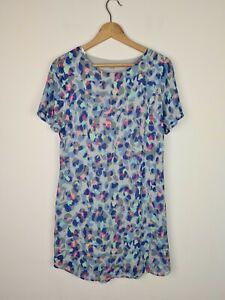 OLIVER BONAS Blue Marble Spot Dress Women's Size 12 Light Lined Short Sleeve