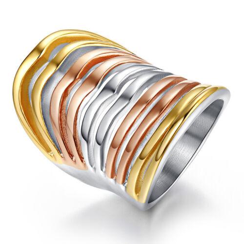 Femme Unique bijoux grande bague en acier inoxydable Big exagérée Tri-Color Ring