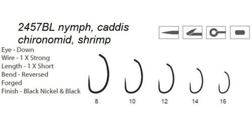 1x Heavy Wire 100 2457BL #18 #16 #14 #12 dohimoto signature nymph fly hooks