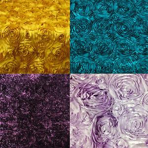 5-Yards-58-034-Rosette-Satin-Fabric-22-Colors-Ribbon-Rose-Wedding-Dress-Draping
