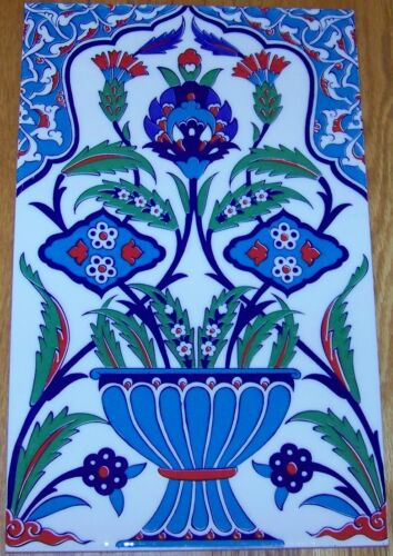 9 7/8 x 15 3/4 Turkish Iznik Floral Vase Pattern Ceramic Tile Mural