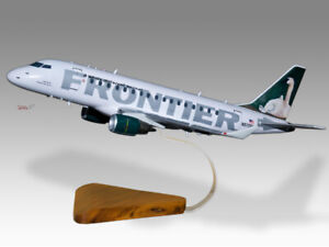 Embraer-170-Frontier-Airlines-Swan-Mahogany-Wood-Handmade-Desktop-Airplane-Model