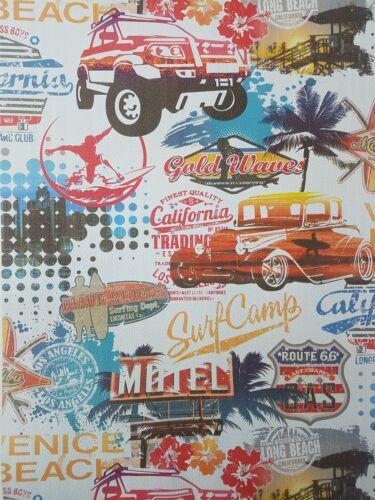 S USA American Papier Peint Voitures Route 66 Surf City Texturé Bleu Blanc Rouge Vinyle P
