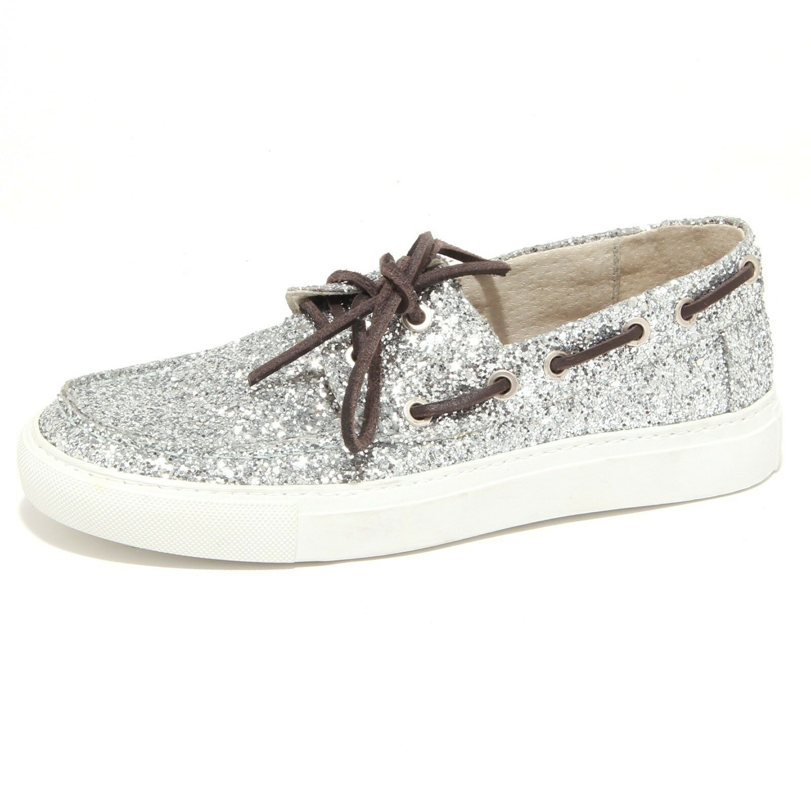 5378O mocassino donna P448 argento shoe woman glitter