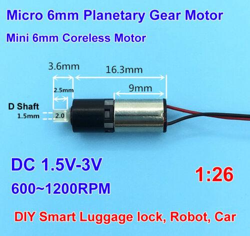 DC 3V Micro 6mm Planetary Gear Reducer Motor Mini Coreless Gearbox Motor 1200RPM