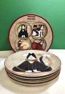 SAKURA Fiddlestix SALAD/DESSERT Plates CHRISTMAS CATS SET OF 4 STONEWARE NIB