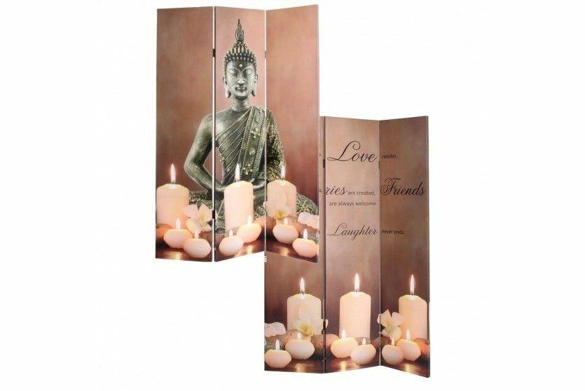 LED-Paravent Buddha 180x120cm Paravant Raumteiler Trennwand Sprüche Asien
