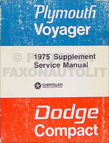 1975 Dodge Van Shop Manual Sportsman Tradesman Voyager B100-PB300 Repair Service