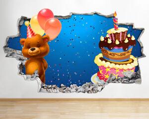 Enjoyable Wall Stickers Boy Birthday Bear Cake Cute Smashed Decal 3D Art Birthday Cards Printable Nowaargucafe Filternl