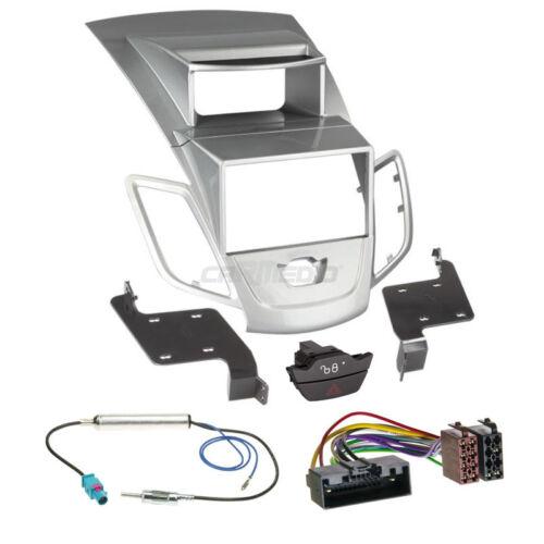 Autoradio Einbauset 2-DIN Ford Fiesta JA8 10-13 Kabel Einbaurahmen silber