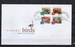 AUSTRALIE-Desert-birds-oiseaux-4-timbres-sur-1-enveloppe-FDC
