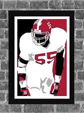 Alabama Crimson Tide Derrick Thomas Portrait Sports Print Art 11x17