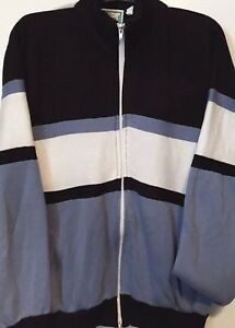 80s Athletic Warm Up Jacket Vintage Men/'s Track Jacket  Blue /& White Zip Up Sweatshirt  Striped Sleeves  70s