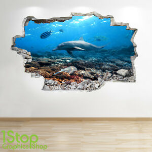 OCEAN PORTHOLE  BEACH BEDROOM LOUNGE Z697 TROPICAL FISH WALL STICKER 3D LOOK