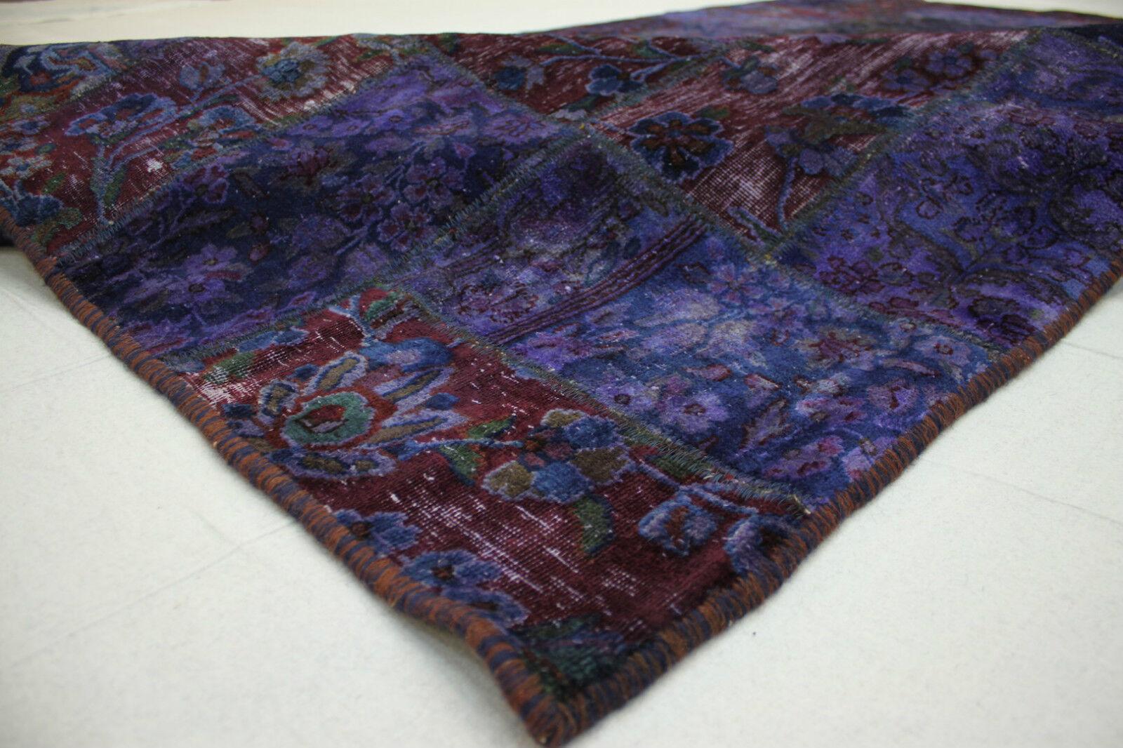 Schöner Orient Teppich Patchwork Vintage lila 300x200 modern Used Used Used Look 1514 10aaf8