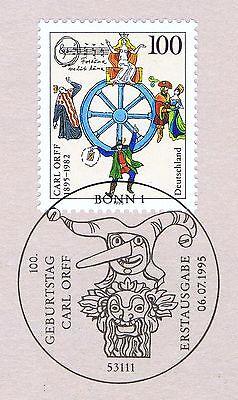Brd 1995: Carl Orff Nr. 1806 Mit Sauberem Bonner Ersttagssonderstempel! 1a! 1704