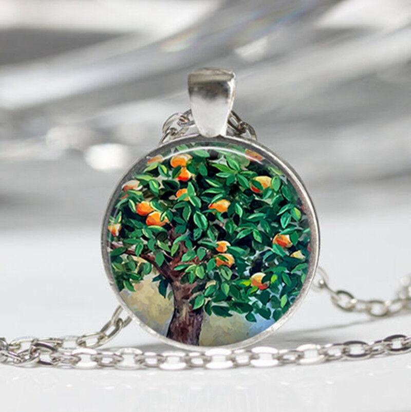 Tree photo Tibet silver dome Glass Cabochon Necklace chain Pendant #506